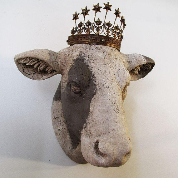 Cow Head Wall Mount Painted White Putty From