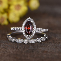 1 Carat Marquise Cut Garnet Wedding Set Diamond Engagement Ring 14k White Gold Art Deco Milgrain matching band