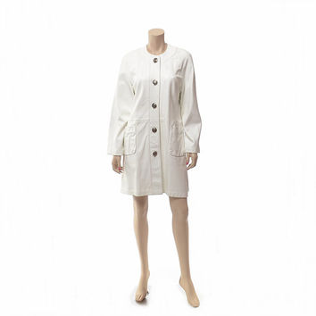 Vintage 60s 70s Mod White Leather Coat 1960s 1970s Carnaby Street Hipster Twiggy Space Age Outerwear Jacket / size X-Large