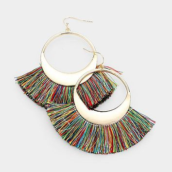 Metal Round Thread Fan Tassel Dangle Earrings