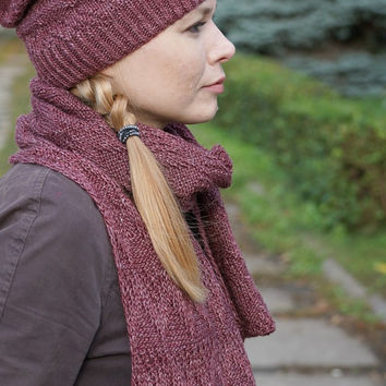Hand knit women set Scarf and hat wool cherry