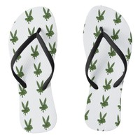 Peace Sign Pot Leaf Flip Flops