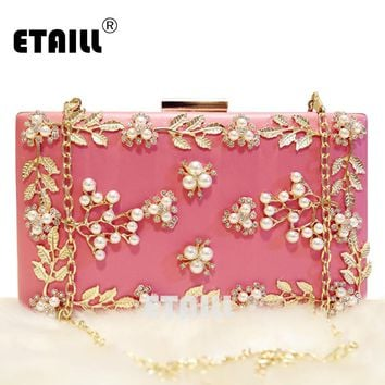 ETAILL Metal Flower Appliques Crystal Beaded Women Pink Acrylic Evening Wedding Box Clutch Bag Ladies Chain Shoulder Handbags