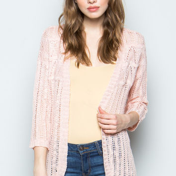 Light Pink Open Knit Cardigan