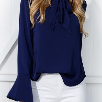 Blue Cut Out Irregular Lace-up Flutter Sleeve Fashion Blouse