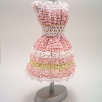 Miniature Bead Dress: Pastel Pink with Striped Skirt - Cute, Soft, Makes you wanna be five inches tall to wear it yourself