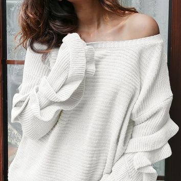 Feel The Chill Long Sleeve Ruffle Crew Neck Pullover Tunic Sweater - 3 Colors Available