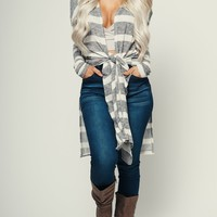 Anne Striped Cardigan (Charcoal/Ivory)
