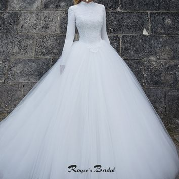 Modest Muslim Wedding Dress Fashion High Collar Long Sleeve Bridal Gown Sweep Train Tulle White Wedding Gown