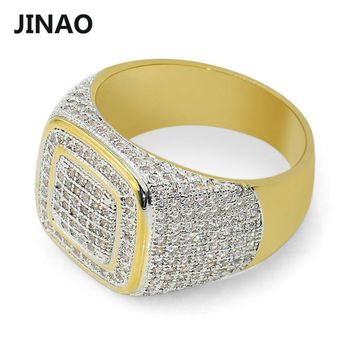 JINAO Hip Hop Micro Pave CZ Stones All Iced Out Bling Ring Gold Filled Hip-Hop Rings for Men