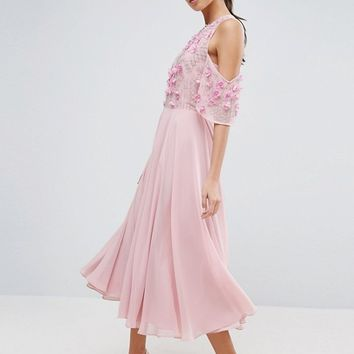 ASOS Cold Shoulder Floral Bodice Midi Skater Dress at asos.com