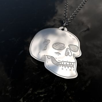 Skull design sterling silver pendant necklace and chain