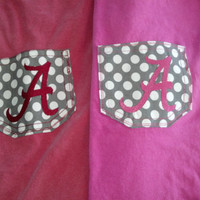 Alabama Pocket Custom Monogrammed Pocket Tee by BayBaysBoutique