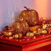 Halloween Rattan Pumpkins and String Lights SET
