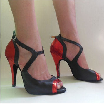 Black Red Gold High Heel Salsa Tango Ballroom Dance Shoes Women / Latin Dance Shoes Women