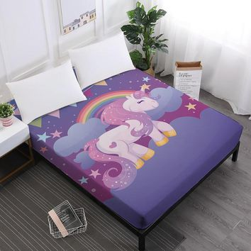 Cartoon Unicorn Print Bed Sheet Girls Sweet Fitted Sheets Twin Full King Queen Elastic Band Mattress Cover D49