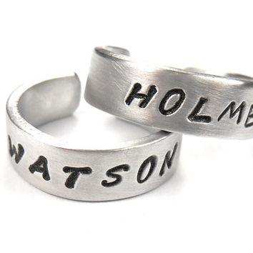 Holmes & Watson - Sherlock Homes Ring, aluminum ring, quote ring, 20.00 for both rings.