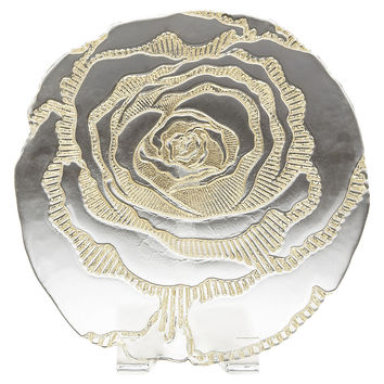 Rose Serving Plate, Gold, Serving Plates & Platters