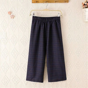 Summer Plus Size Women's Fashion Vintage Plaid With Pocket Pants [4920286788]