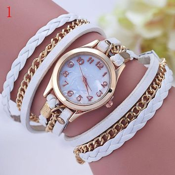 DHL 2015 New Fashion Vintage Colorful Multilayer Faux Leather Strap Band Wrap Women Bracelet Quartz Wrist Watch Female