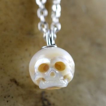 Carved Pearl Skull - Fetal Skull - Skull Pendant - Skull Jewelry - Gifts for Him - Gifts for Her - Christmas gift- Christmas Jewelry - Gift