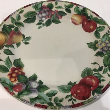 The Sakura Table Sonoma Excell Stoneware Asst. Fruits Green Leaves Dinner Plate
