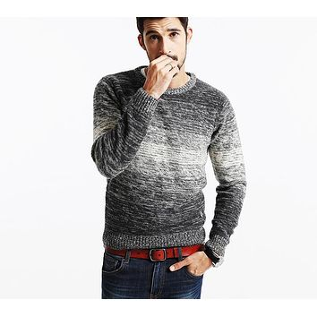 New Autumn Winter Striped Sweater  Men Vintage  Wool Pullovers O neck Slim fit Knitwear
