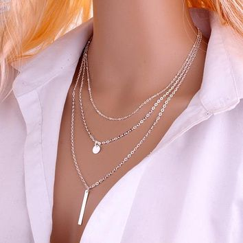 N672 European Simple Multi Layers Tassels Bar Coin Necklace Clavicle Chains Charm Womens Fashion Jewelry Colar One Direction