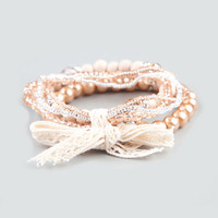 Full Tilt 5 Piece Bow Tied Beaded Bracelets Natural One Size For Women 21228342301
