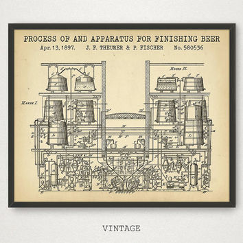 Beer Processing Apparatus Patent Print, Beer Poster, Bar Decor, Alcohol Art, Steampunk Art, Beer Machinery, Kitchen Decor Beer Gifts For Him