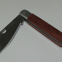 Pocket Folding Knife, Metal Knife With a Wooden Handle, Garden Folding Knife With a Wide Blade and Wooden Handle, Rustic Folding Knife