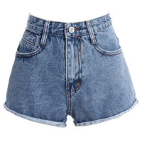 Denim Shorts With Rolled Hem - Choies.com