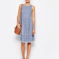 Vero Moda Tall Cutwork Chambray Skater Dress