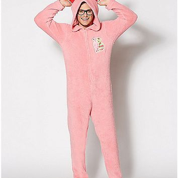 Adult Hooded Bunny A Christmas Story One-Piece Pajamas - Spencer's