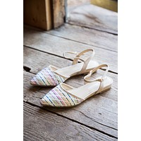Hippie Pointed Toe Flat, Natural Multi | CL by Laundry