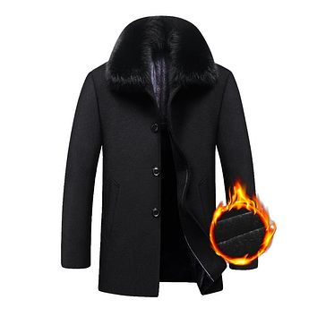 Thick Warm Men Jacket Winter Medium Long Big Detachable Big Fur Collar Wool Men Coat Winter
