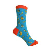 All Over Bananas Crew Socks in Deep Tropical Turquoise and Orange