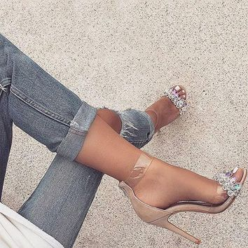 2018 new fashion sexy spring summer ladies sandals shoes girls women crystal open toe thin high heels woman extreme pumps 11CM