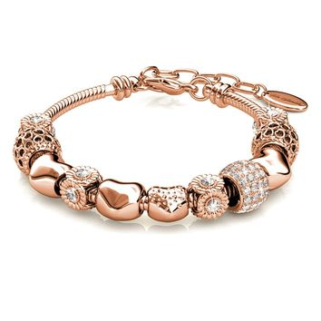 "Alaxy Bangle Bracelets Made with Swarovski Crystal ""Sexy Rose Gold"" Charm Beaded Bracelets for Teens Girls and Women Size 19cm (7.48'') - 22cm (8.6'')"