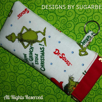 GRINCH -  Eyeglass/Sunglasses FABRIC Flex Frame Top Pouch Case for Cell Phone, IPODs & More - Hand Crafted Designs by Sugarbear