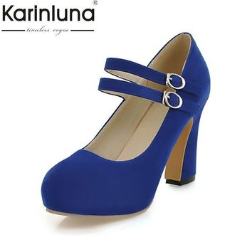 KAIRNLUNA Large size 34-43 mary janes women shoes woman high heels elegant buckle stra