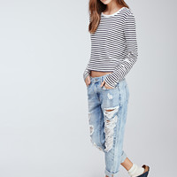 Boxy Texture-Striped Tee