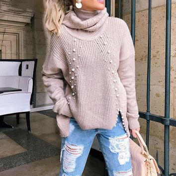 Turtleneck plus size loose knitted sweater Beading split casual pullover sweater Long sleeve womens jumpers