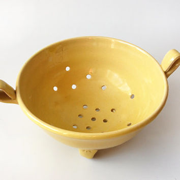 Yellow Strainer  / Berry Bowl / Colander Handmade Ceramic