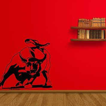 Charging Bull Wall Street NY New York Wall Mural Decal vm018