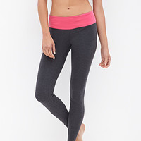 FOREVER 21 Colorblocked Yoga Leggings Charcoal/Berry Small
