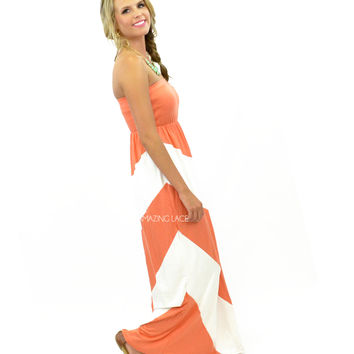 SZ MEDIUM Lighthouse View Coral Strapless Maxi Dress