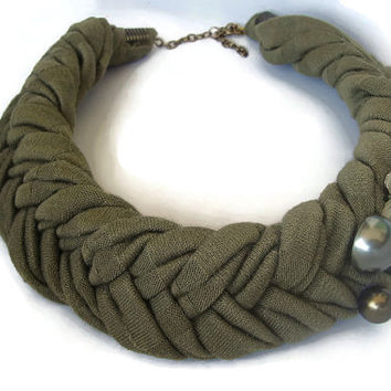 Olive Green Choker, Fabric Necklace, Braided Fabric, Textile Jewelry, African Necklace, Necklaces for Women, Big Necklace, Unique Neckpiece