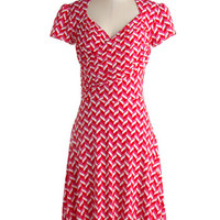Leota Mid-length Short Sleeves A-line Kelly's Vivid in the Moment Dress in Chevron