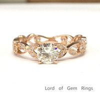 Round FB Moissanite Engagement Ring Pave Diamond Wedding 14K Rose Gold 5mm Art Deco